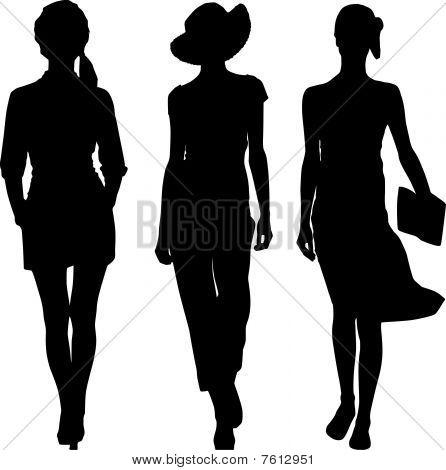 Silhouette fashion revue girls