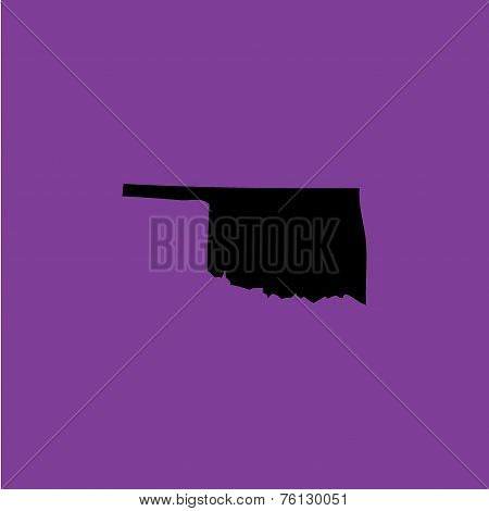 Coloured Background With The Shape Of The United States State Of Oklahoma