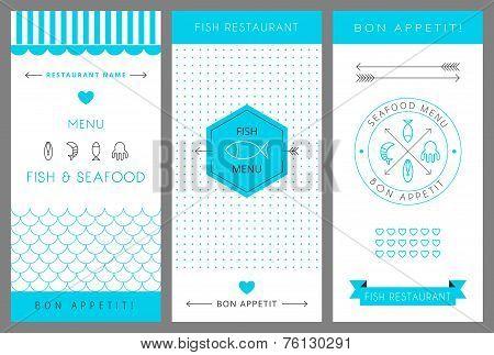 Restaurant menu design template. Seafood. Vector  illustration.
