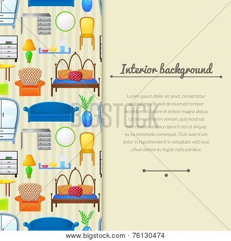 Vector background with elements furniture