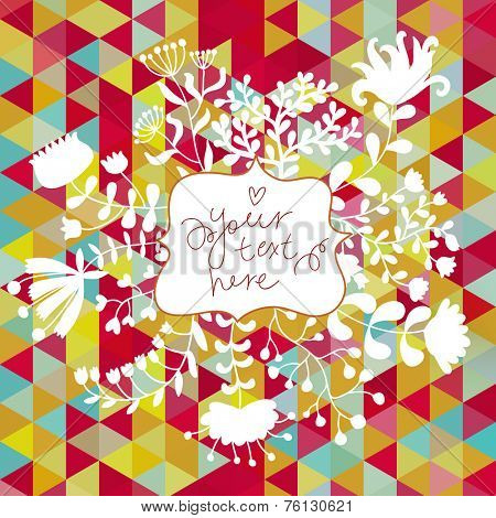 Abstract floral card in bright colors. Textbox in flowers - awesome vector background