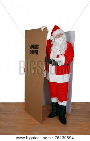 Santa Claus votes for who he wants in the latest Election. Voting and Voting Booths are a very important part of the democratic society and how government runs fairly and honestly for all.vote