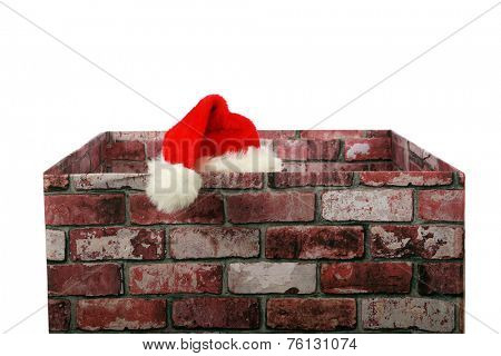 Santa Claus in a Chimney. Santa Claus enters a house through their chimney to deliver gifts to good boys and girls during Christmas. Christmas is enjoyed by people around the world each year, Santa