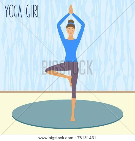 beautiful young girl practicing yoga in the gym