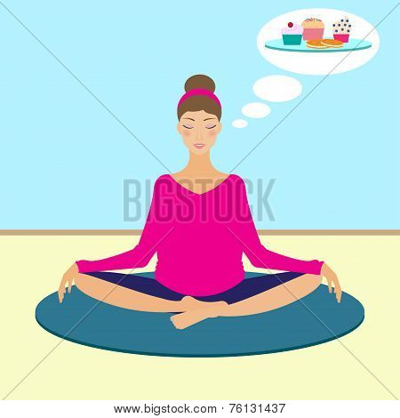 Yoga Girl Dreaming About Cakes during meditation
