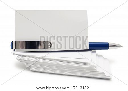 Stack Of Business Cards And Pen
