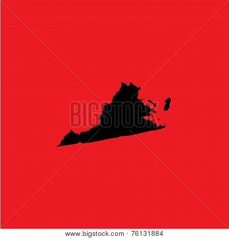 Coloured Background With The Shape Of The United States State Of Virginia