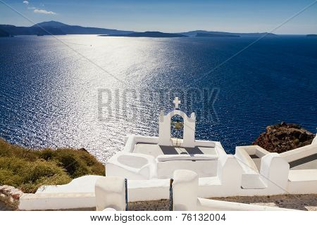 Cycladic Church Of The Blue Mediterranean Sea