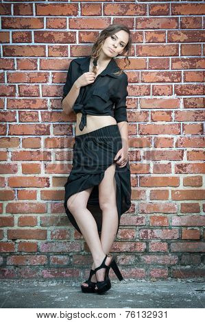 Charming young brunette woman in black dress and high heels near the brick wall