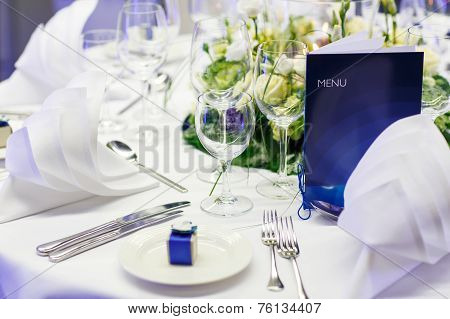 Elegant And Romantic Table Set Decoration For Wedding Or Event Party.