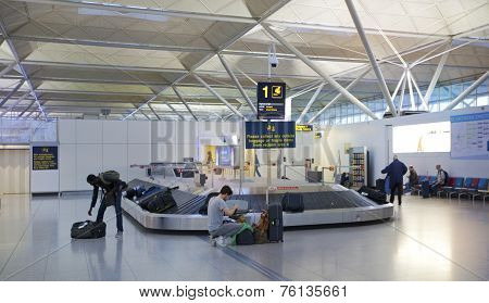 Stansted airport, luggage waiting aria