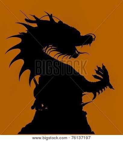 Silhouette Of Dragon Statue