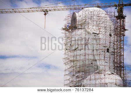 Guan Yin Statue Under Construction, Wat Huay Pla Kang , Chiang Rai, Thailand