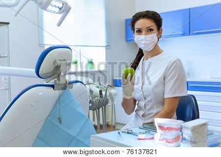 Dentist In Mask Holding Green Apple.