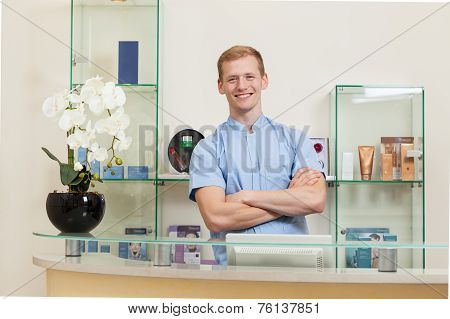 Satisfied Receptionist In Spa
