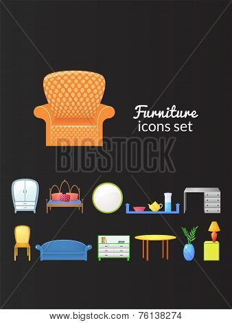Set vector icons furniture isolated from background