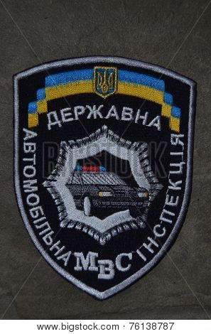 Kiev,Ukraine.Oct 16.Illustrative editorial.Ukrainian Road Police chevron .At October 16,2014 in Kiev, Ukraine