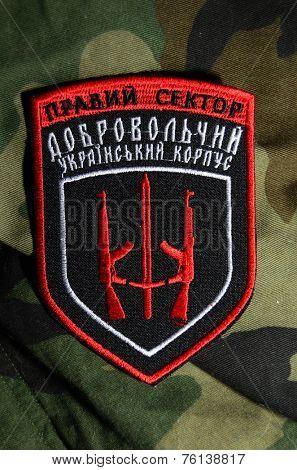 Kiev,Ukraine.Oct 16.Illustrative editorial. Pro-Ukrainian nationalist formation Right Sector  chevron..At October 16,2014 in Kiev, Ukraine