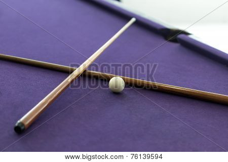 Billiard Cues And White Ball