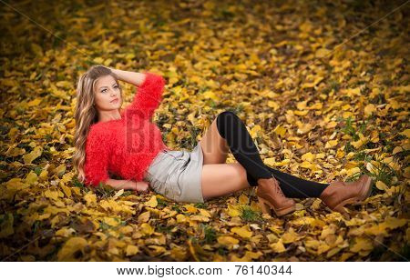 Beautiful elegant woman with red blouse and short skirt posing in park during fall.