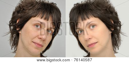 Woman before and after applying make-up and computer retouching