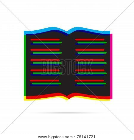 Book Icon With Shadow. Cmyk Offset Effect