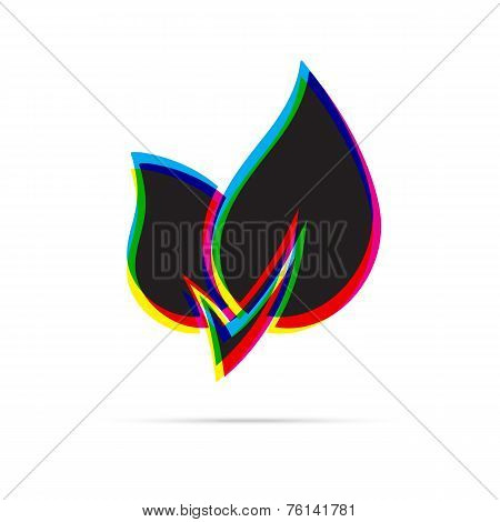 Eco Leaf Icon With Shadow. Cmyk Offset Effect