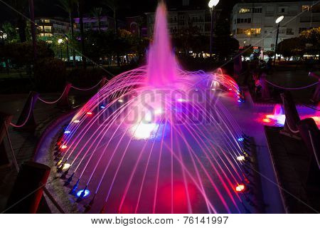 Alanya - Damlatas fountains park near Clepatra beach in the night. Turkey