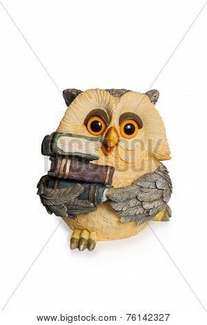 Figurine Owl Sitting With Book