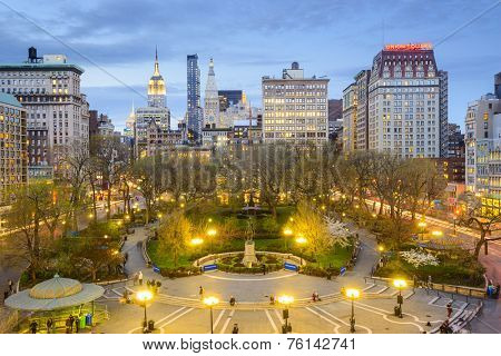 New York City, USA cityscape at Union Square in Manhattan.