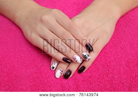 Beauty Treatment Of Fingernails, Hands On Towel