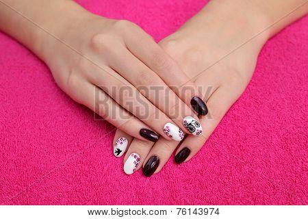 Beauty Treatment Of Fingernails, Hands On Towel