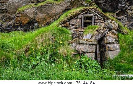 Ruins Of A Traditional Icelandic Turf House