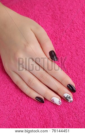 Beauty Treatment Of Fingernails, Hand On Towel