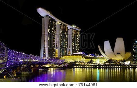 Singapore Helix Bridge and Marina Bay Sands Hotel at Night