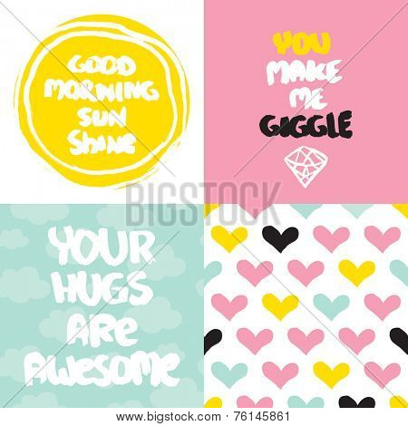 Cute collection of valentine love and friendship postcard cover design typography background in vector