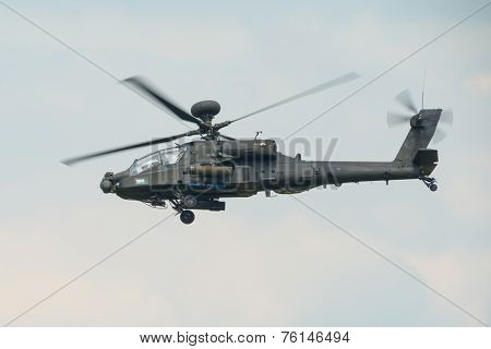 A Raf Apache Attack Helicopter In Flight