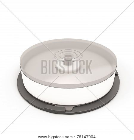 Cd Stack Case Plastic Spindle Closed Isolated On White Background. Empty Blank Cd Case.