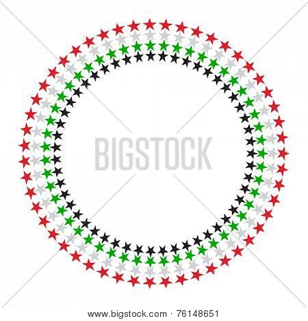 A vector round border made with United Arab Emirates flag colours and star graphic.