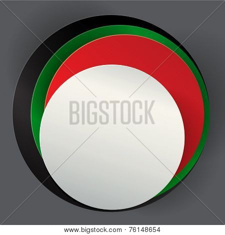 An empty badge made with UAE national flag colors. A vector illustration.