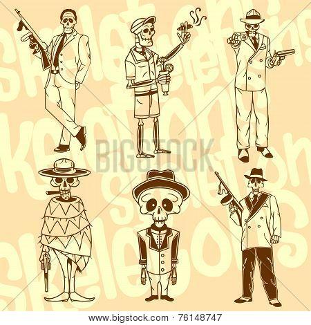 Skeletons - gangsters. Vector set. Vinyl-ready illustration.