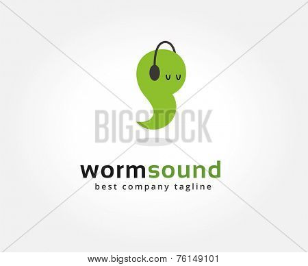 Abstract worm with headphone vector logo icon concept. Logotype template for branding and corporate design