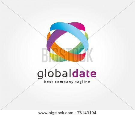 Abstract colored circles vector logo icon concept. Logotype template for branding and corporate design