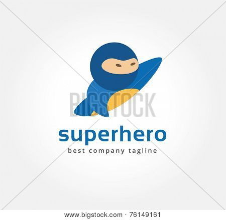 Abstract vector superman logo icon concept. Logotype template for branding and corporate design