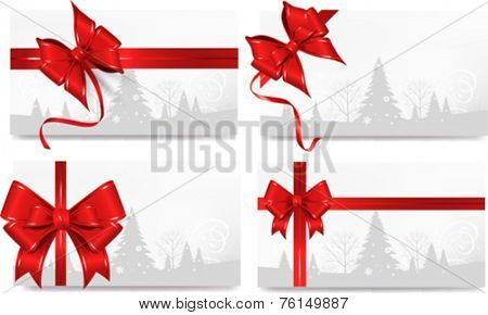 Set of Christmas  background with bow