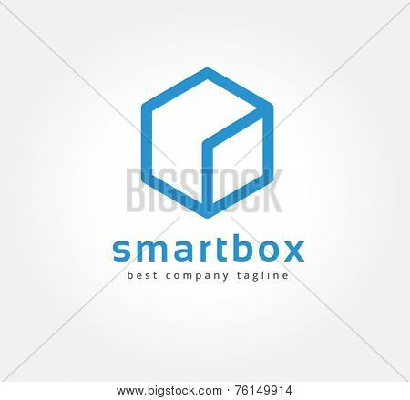 Abstract box vector logo icon concept. Logotype template for branding and corporate design