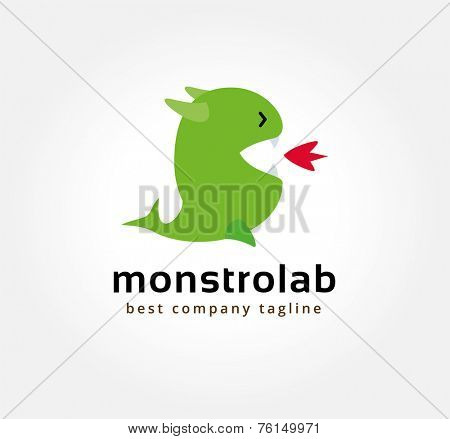 Abstract vector dragon monster logo icon concept. Logotype template for branding and corporate design