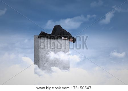 Businessman Looking Down From The Top
