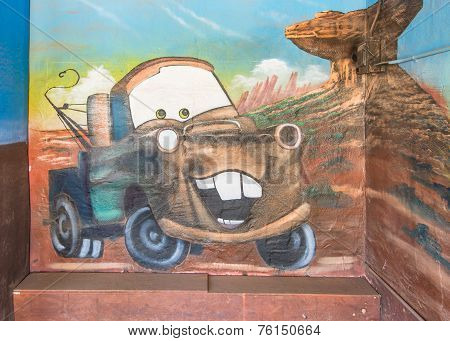 Route 66: Sir Tow Mater Mural, Blue Swallow Motel, Tucumcari, NM