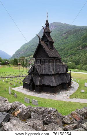Gorgeous view of the Borgund Stave Church, Lærdal, Sogn og Fjordane County, Norway